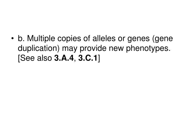 b. Multiple copies of alleles or genes (gene duplication) may provide new phenotypes. [See also