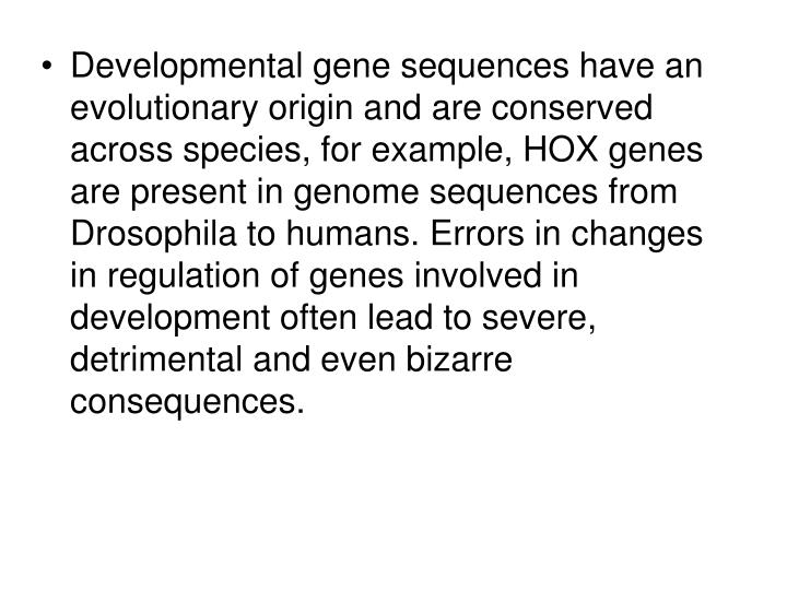 Developmental gene sequences have an evolutionary origin and are conserved across species, for example, HOX genes are present in genome sequences from Drosophila to humans. Errors in changes in regulation of genes involved in development often lead to severe, detrimental and even bizarre consequences.