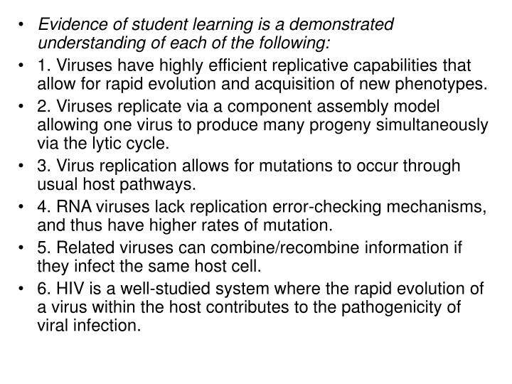 Evidence of student learning is a demonstrated understanding of each of the following: