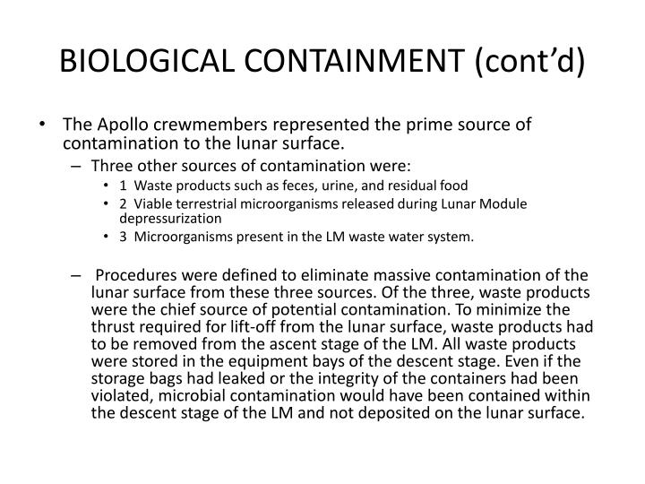 BIOLOGICAL CONTAINMENT (cont'd)