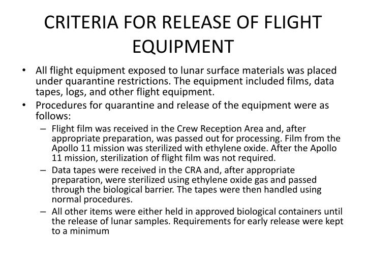 CRITERIA FOR RELEASE OF FLIGHT EQUIPMENT