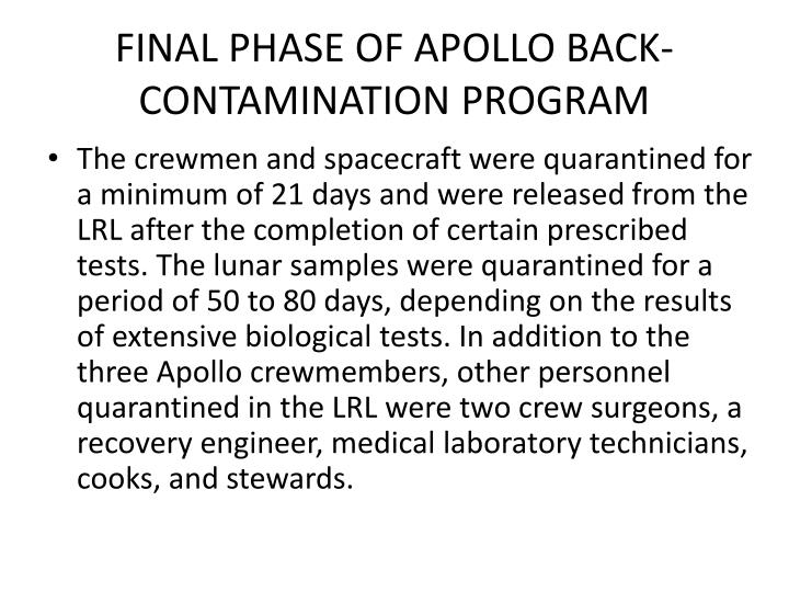 FINAL PHASE OF APOLLO BACK-CONTAMINATION PROGRAM