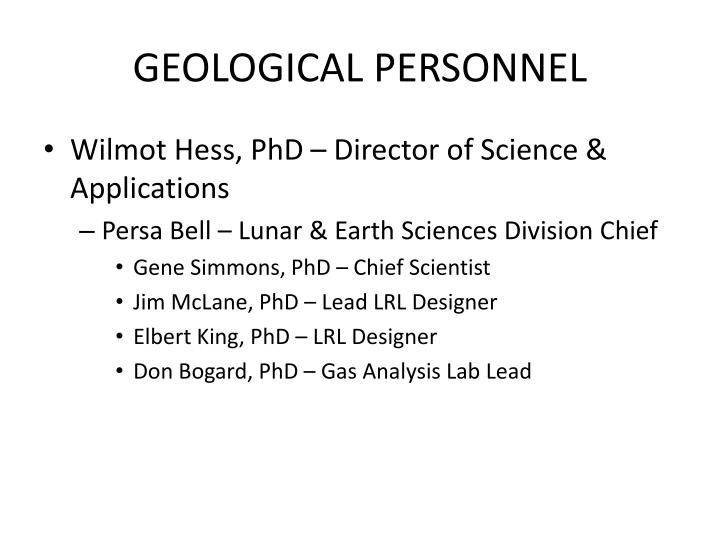 GEOLOGICAL PERSONNEL