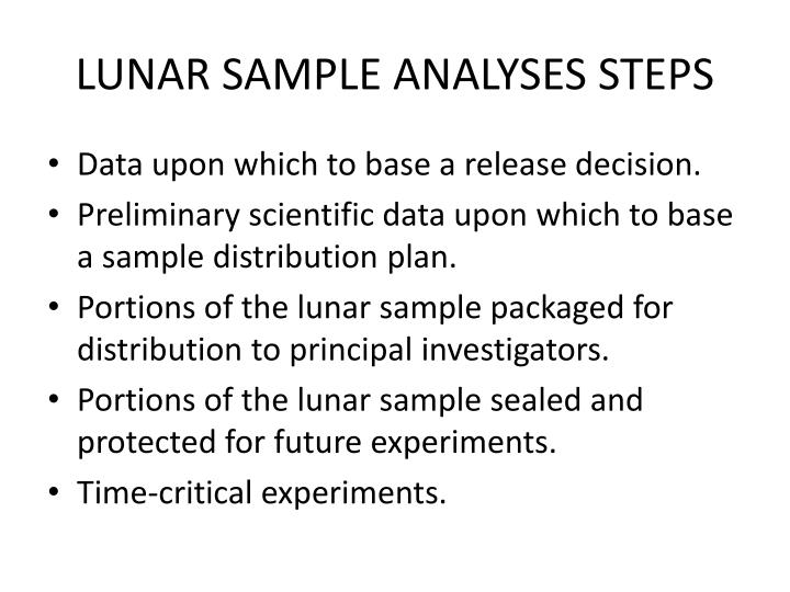 LUNAR SAMPLE ANALYSES STEPS
