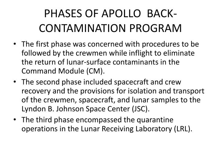 PHASES OF APOLLO  BACK-CONTAMINATION PROGRAM