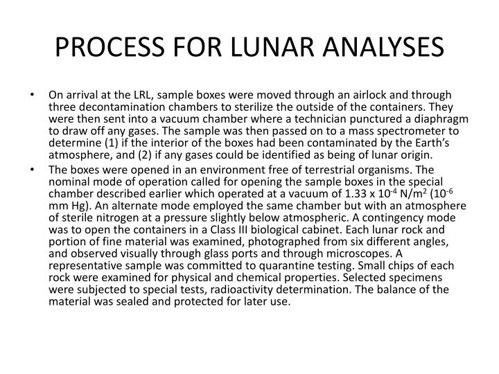 PROCESS FOR LUNAR ANALYSES