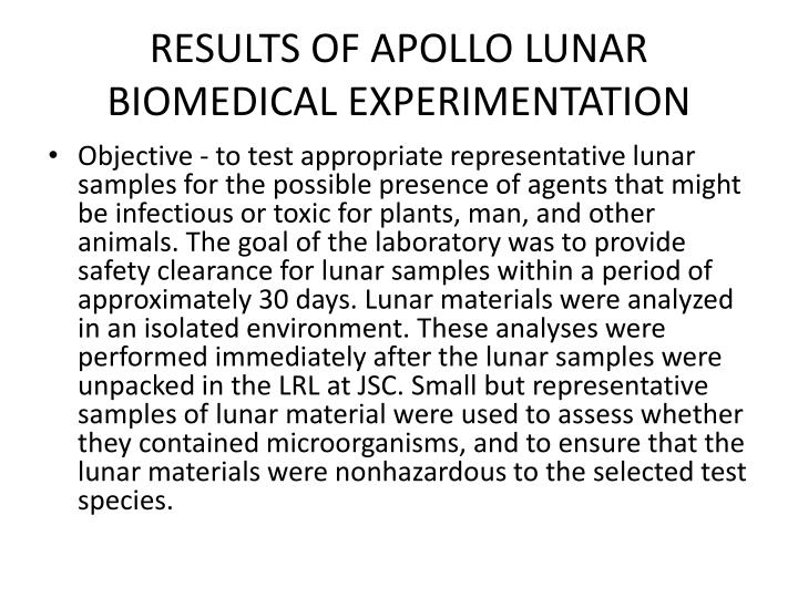 RESULTS OF APOLLO LUNAR BIOMEDICAL EXPERIMENTATION
