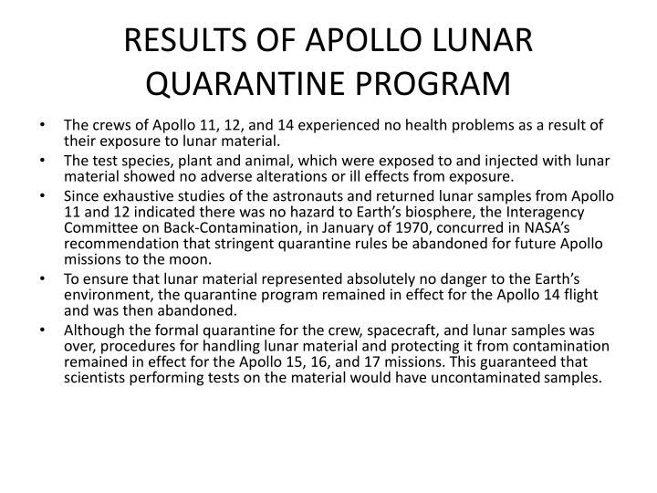 RESULTS OF APOLLO LUNAR QUARANTINE PROGRAM