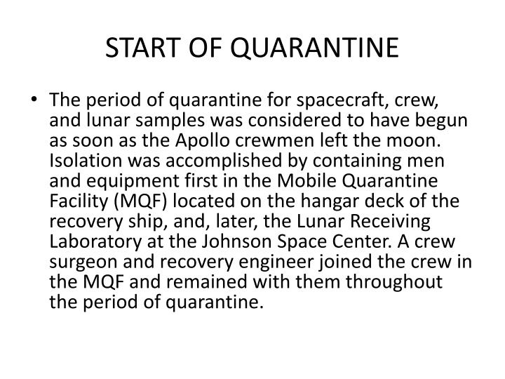 START OF QUARANTINE