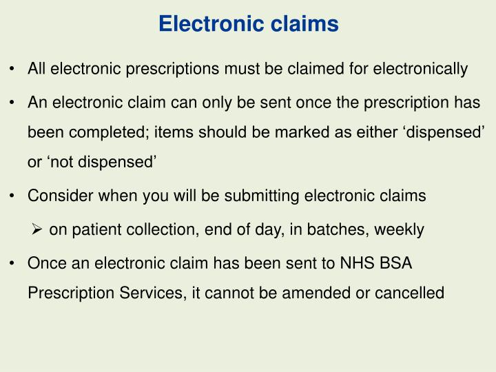 Electronic claims