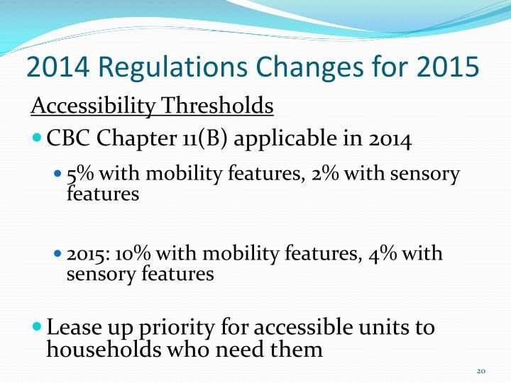 2014 Regulations Changes for 2015