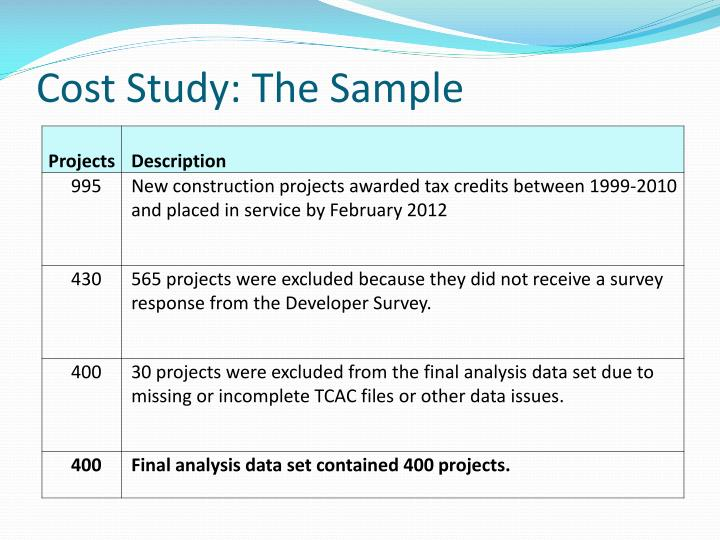 Cost Study: The Sample