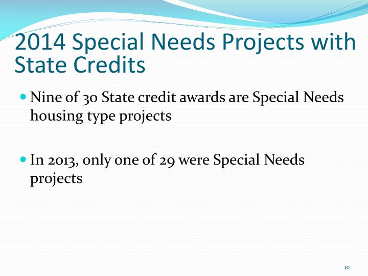 2014 Special Needs Projects with State Credits