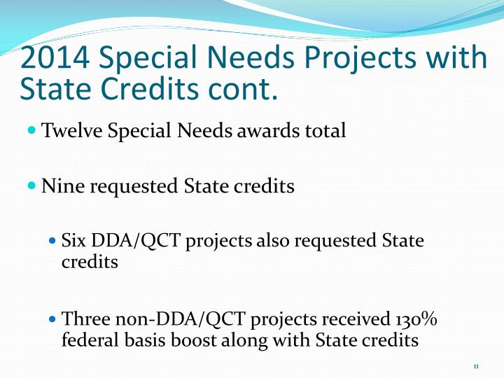 2014 Special Needs Projects with State Credits cont.