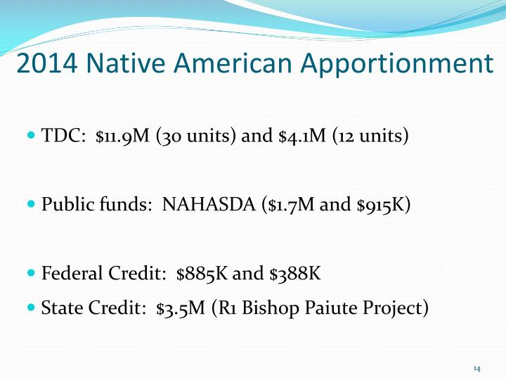 2014 Native American Apportionment