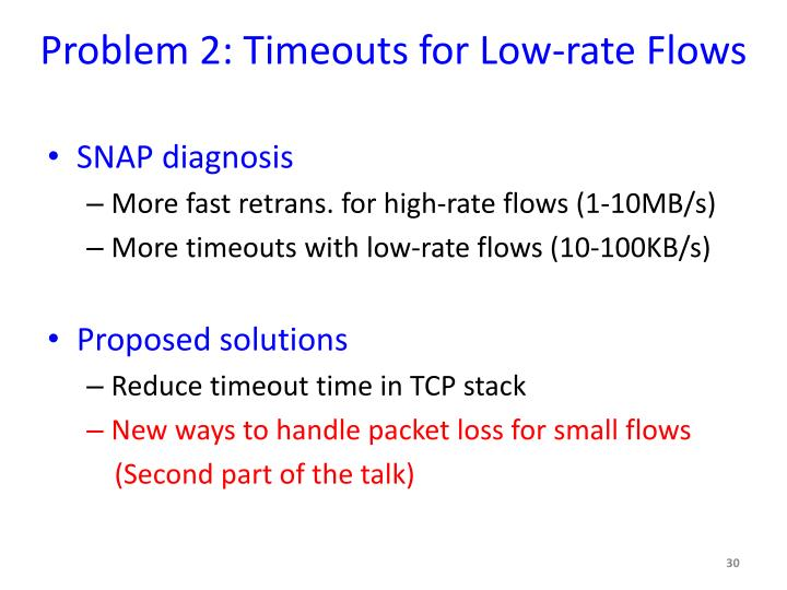 Problem 2: Timeouts for Low-rate Flows