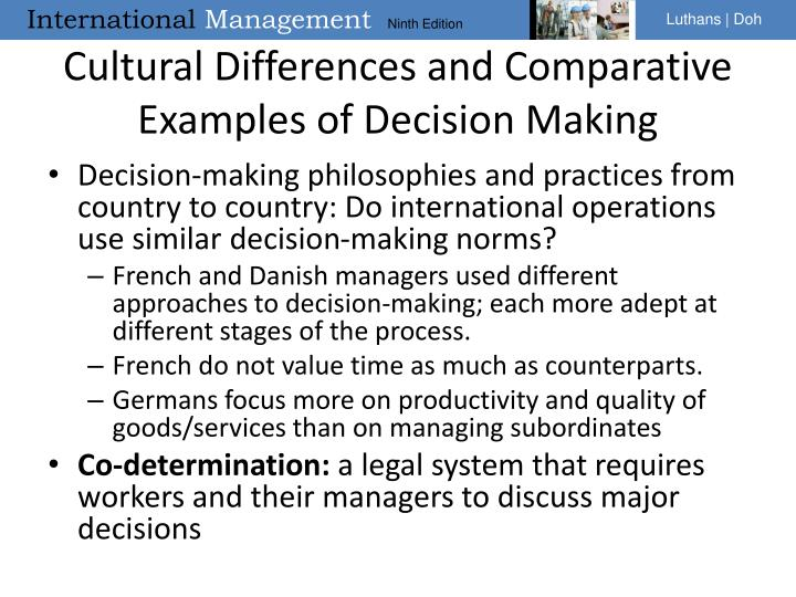 Cultural Differences and Comparative Examples of Decision Making