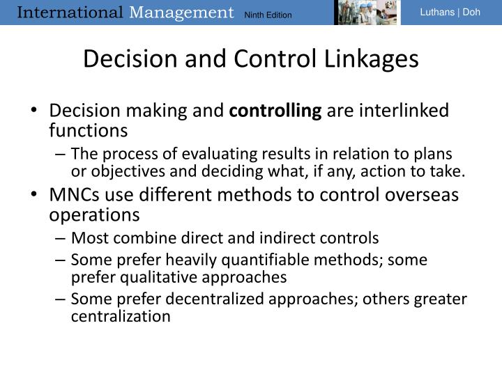 Decision and Control Linkages