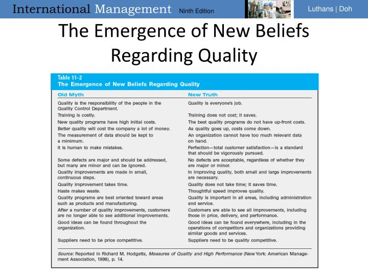 The Emergence of New Beliefs Regarding Quality
