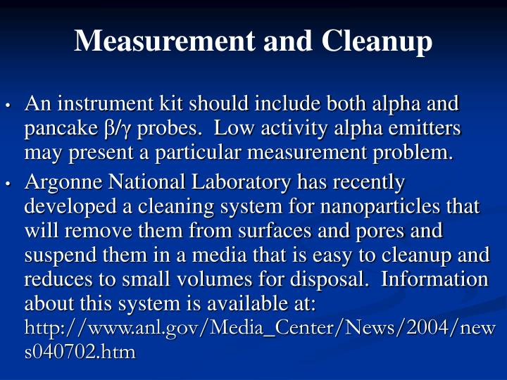 Measurement and Cleanup