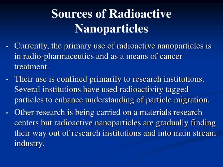 Sources of Radioactive Nanoparticles