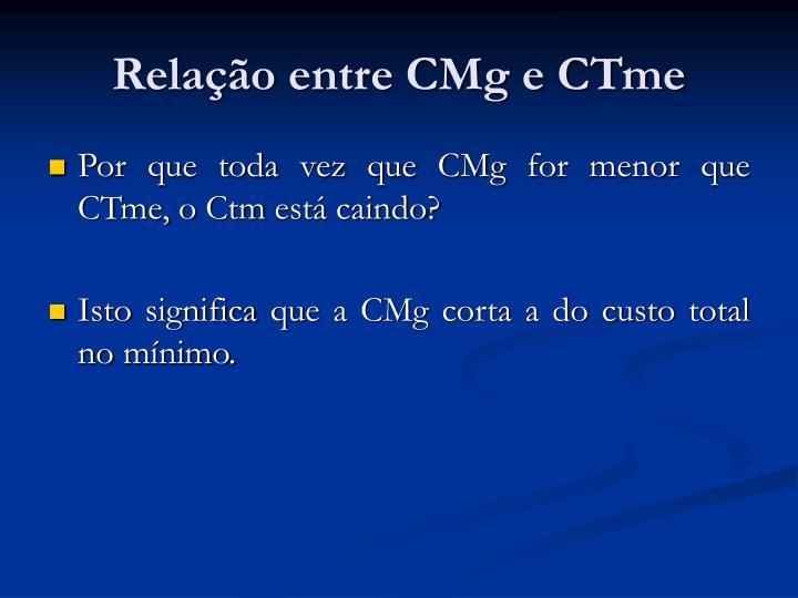 Relação entre CMg e CTme