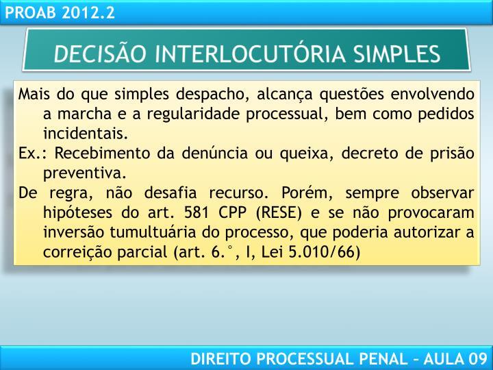 DECISÃO INTERLOCUTÓRIA SIMPLES