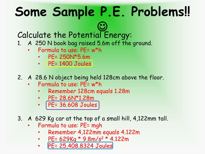 Some Sample P.E. Problems!!