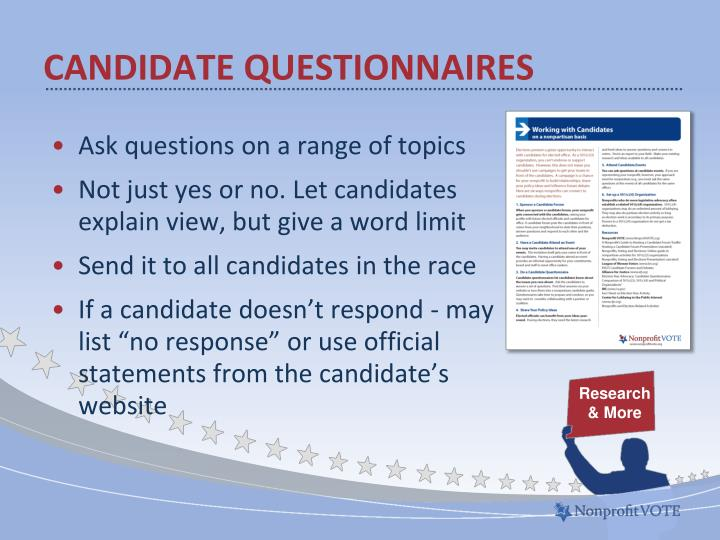 Candidate questionnaires