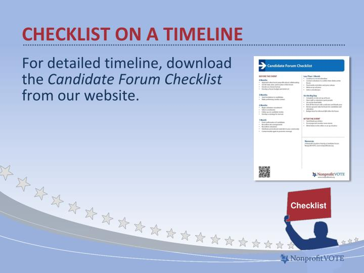 Checklist on a timeline