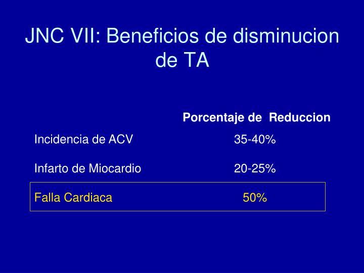 JNC VII: Beneficios de disminucion de TA