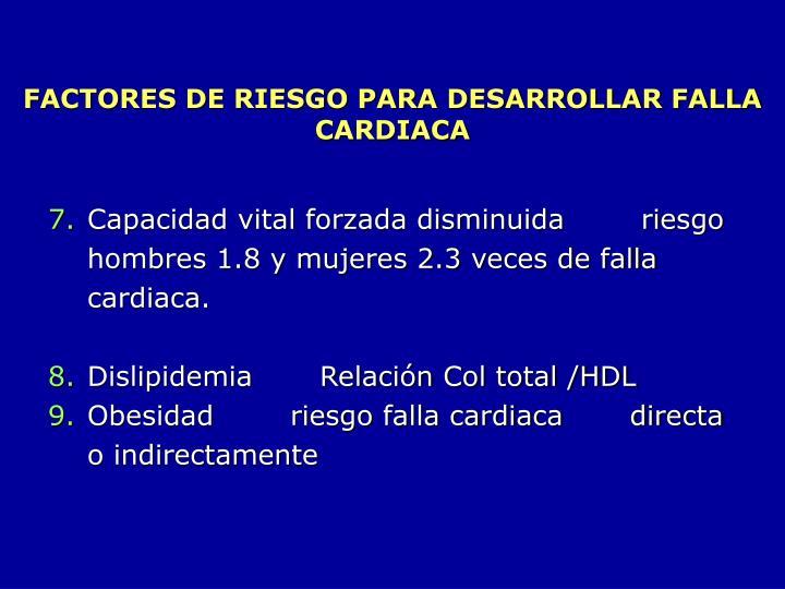 FACTORES DE RIESGO PARA DESARROLLAR FALLA CARDIACA