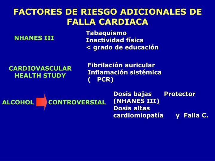 FACTORES DE RIESGO ADICIONALES DE FALLA CARDIACA