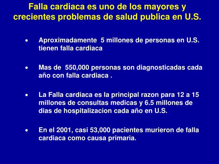 Falla cardiaca es uno de los mayores y crecientes problemas de salud publica en U.S.