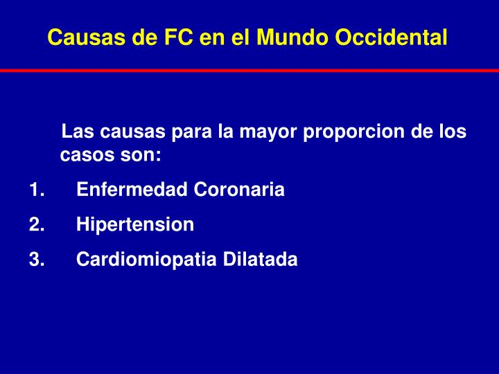 Causas de FC en el Mundo Occidental
