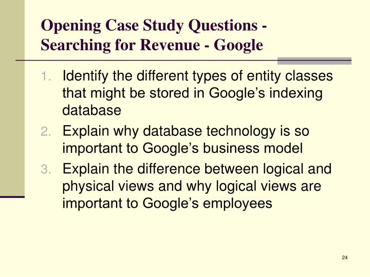 Opening Case Study Questions -