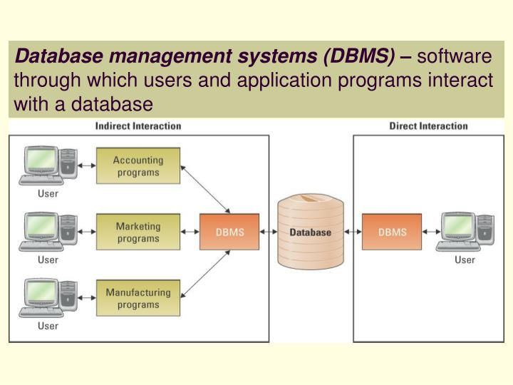 Database management systems (DBMS) –