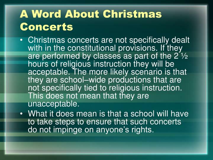 A Word About Christmas Concerts