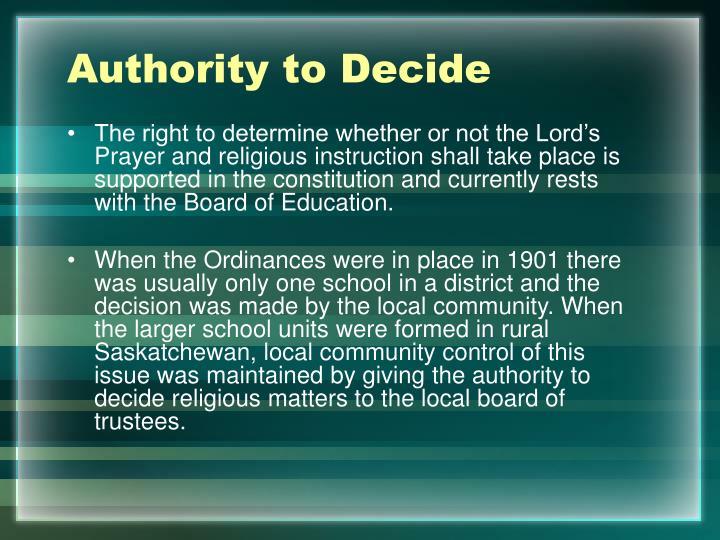Authority to Decide