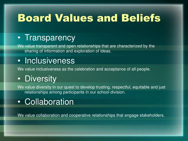Board Values and Beliefs