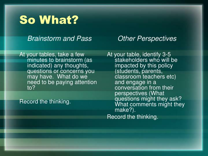 Brainstorm and Pass