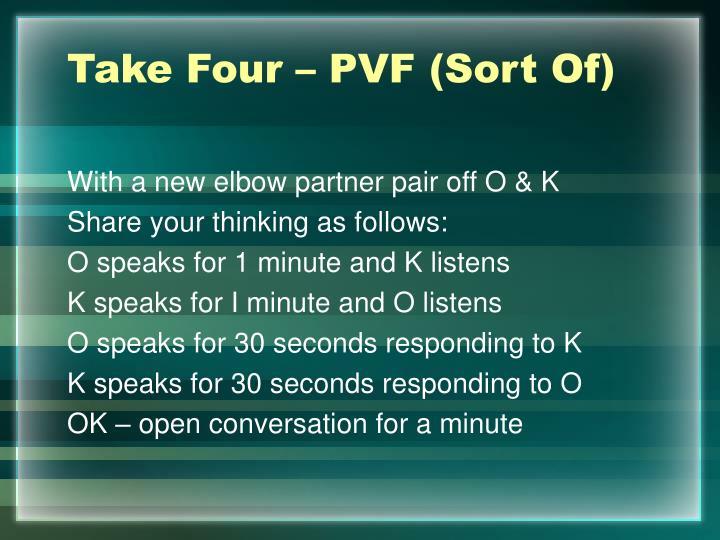 Take Four – PVF (Sort Of)