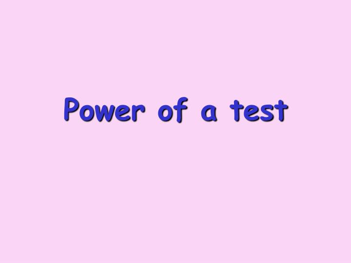 power of a test