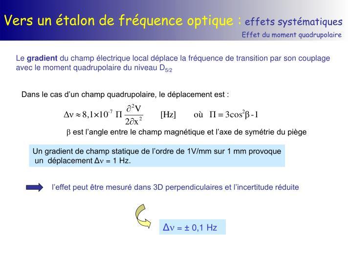 Vers un étalon de fréquence optique :