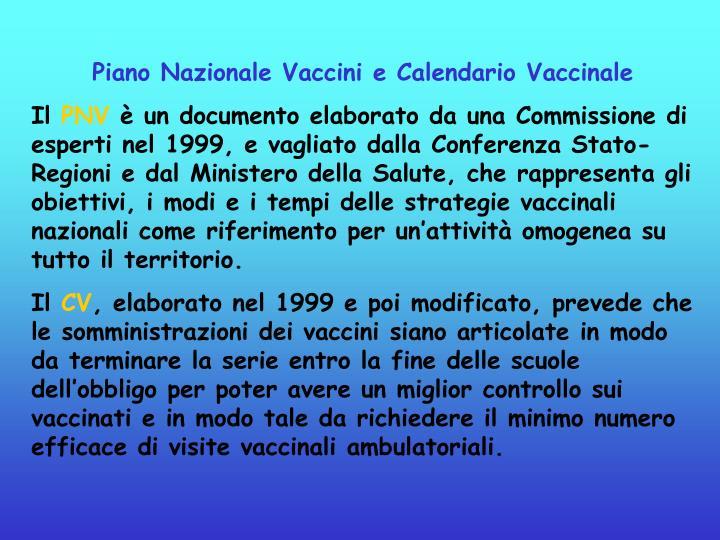 Piano Nazionale Vaccini e Calendario Vaccinale