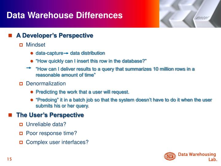 Data Warehouse Differences