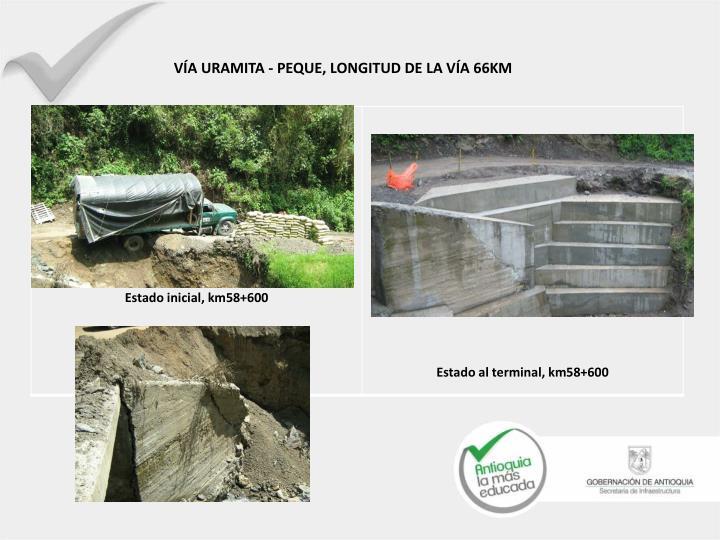 VÍA URAMITA - PEQUE, LONGITUD DE LA VÍA 66KM