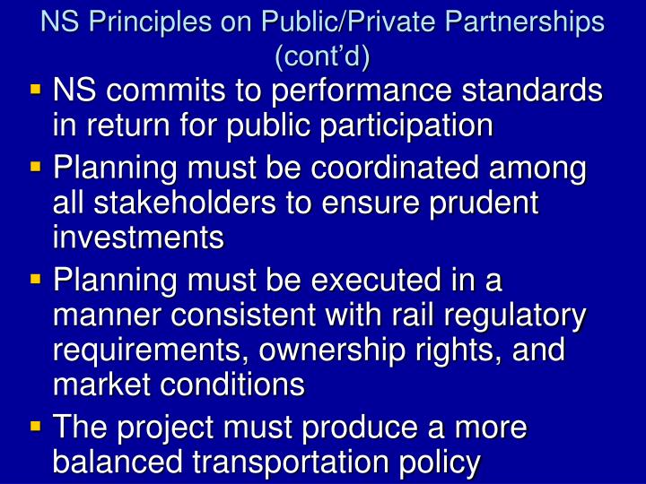 NS Principles on Public/Private Partnerships (cont'd)