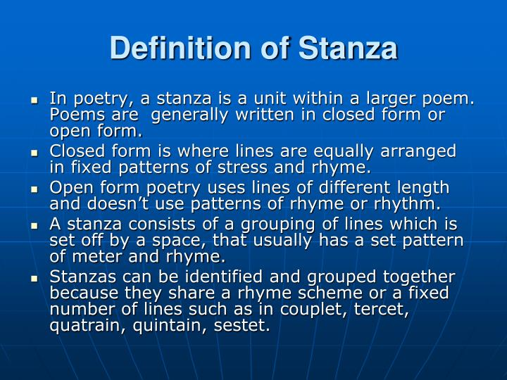 Definition of Stanza