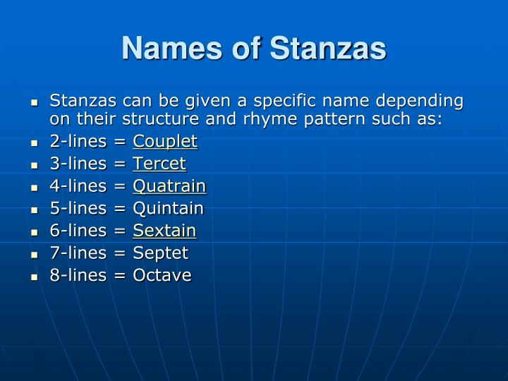 Names of Stanzas